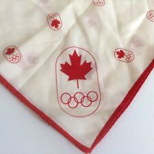 Vintage Olympics Scarf 1976 Montreal Canada Square Souvenir 23X23 White Red
