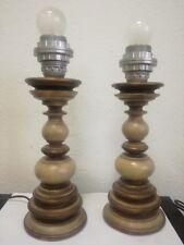 LAMPADA DA TAVOLO ABAT-JOUR lampade IN LEGNO VINTAGE anni 70' abatjour coppia