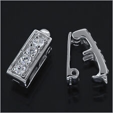 1PC Sterling Silver 2-Strand CZ Rectangle Enhancer Shortener Push Clasp #97239