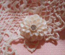 ~Cameo Dahlia Button~ Vintage Cameo~Acrylic 20mm~Off-White & Rhinestone~