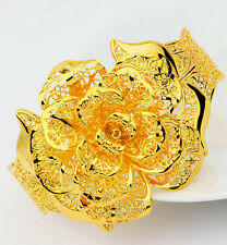 18k 18ct yellow gold filled GF open rose flower bangle  BN-A193