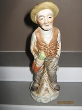 Ceramic figurine old man no 10 standing with carotts size 140 to 185 mm ex/cond