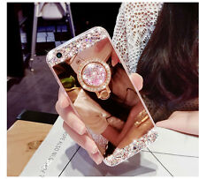 Luxury Gold Mirror Bling Diamond TPU Soft Case Cover For iPhone With Ring Holder