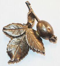 Vintage Signed Eggert Denmark Sterling Silver Flower Bud Leaves Flora Brooch Pin