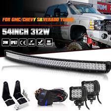 """54inch Curved LED Light Bar+4"""" 18W+Brackets Fit GMC/Chevy Silverado Yukon 52"""""""