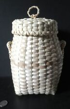"Small traditional HAMPER basket 8.75"" high -by Mary Sanipass, MicMac"