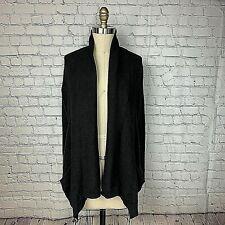 DKNY Womens Cardigan Sweater Black Open Front Hi Lo Pockets Shawl Collar Size XS