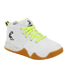 BOYS SHAQ WHITE NEON YELLOW ATHLETIC CASUAL HIGH-TOP SNEAKER BASKETBALL SHOES