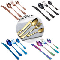 4Pcs Colorful S.S Dinnerware Black Cutlery Fork Spoon Teaspoon Dinnerware Top