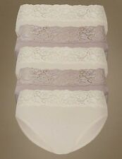 5 X MARKS & SPENCERS  LACE TOP HIGH LEG  BRIEFS SIZE UK 12  BNWOT HALF PRICE