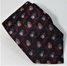 $250 ERMENEGILDO ZEGNA  Art Deco Floral Black Men's Silk Tie Italy