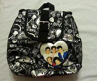 One Direction Girls Mini Backpack Purse Tote Bag Handbag Black Silver 1D
