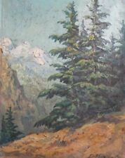 Vintage Impressionist Mountain Landscape Oil Painting Signed