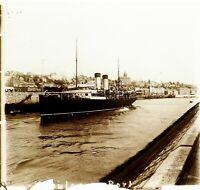 FRANCE Toulon Le Port Bateau ca 1910, Photo Stereo Vintage Plaque Verre VR4L6