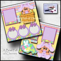EASTER BABY GIRL ~  2 premade scrapbook pages paper piecing layout 12X12 CHERRY
