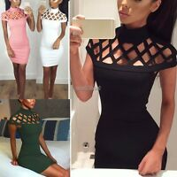Women Choker High Neck Bodycon Ladies Caged Sleeves Mini Dress UK Size 6-14 WST