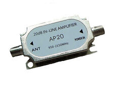20dB INLINE AMPLIFIER SIGNAL BOOSTER SATELLITE DISH NETWORK AMP DIRECTV NEW