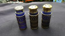 3 Vintage Cobalt Blue Glass Salt and Pepper Shakers With Silver Plate Filigree
