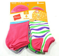 NEW HANES Girls Super No Show Socks 6 Pairs Girls Large Shoe Size 4-10