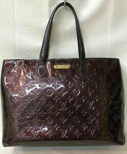 Auth Louis Vuitton Verni Wilshire GM Amarant M91649 From Japan 0331*1613