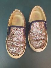 Crewcuts Girls Shoes 12 Navy Blue Multicolor Glitter Slip On Girl Kids
