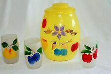 Vtg Bartlett Collins Hand Painted Yellow Glass Cookie Jar W/ Matching Glasses
