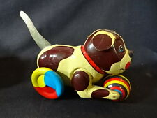 Tin Lithograph Dog Puppy With Ball Pull Tail Down And It Roll Forward Toy