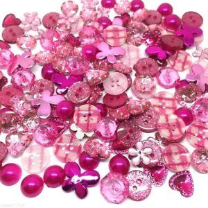 150 Amazing PINK Button & Flatback Mix Embellishments Craft Buttons Cardmaking