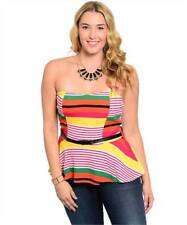 NEW..Stylish Plus Size Stripe Strapless Peplum Top with Belt.Sz16/2XL
