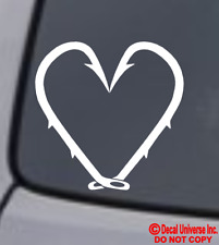 Fishing Hook Heart Vinyl Decal Sticker Car Window Bumper Love Fish Lure Hunting
