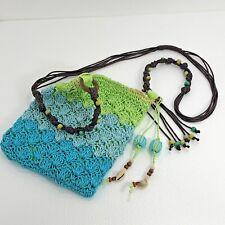 Cruise Club Lined HandBag Crossbody Bag Zip Woven Straw Block Colors Blue Green