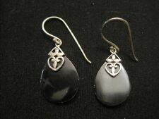 ATI Indonesia Sterling Silver 925 Brown Stone Dangle Earrings ~ 3.35 Grams