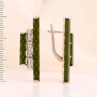 Green jade CZs STICK earrings Russian solid rose gold 585 /14k  NWT  Beautiful