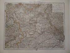 Landkarte Nord- und Mittelbayern, Nürnberg, Augsburg, Lithographie, Andrees 1897