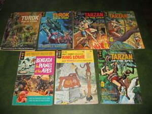 Lot of 7 Gold Key Comic Books Tarzan Turok Planet of the Apes King Louie VG