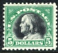 [T]  Sound US #524 MNH 1918 Unwatermark Perf 12 ~ $5 Franklin