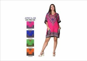 New Ladies Short African Kaftan Dress 100% Polyester Summer/Holiday Africa 08 UK