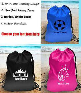 Personalised Boys Girls Unicorn Kids PE Gym School Sports P.E Drawstring Bag