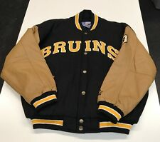 Boston Bruins Starter Leather/Wool Varsity Jacket Large L Awesome