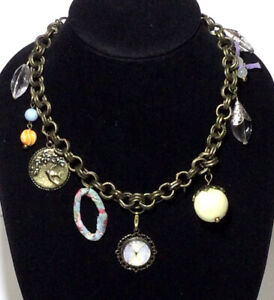 Plunder Design Necklace Color Assortment Of Vintage Look Charms Statement Piece