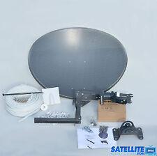 Freesat / Sky 60cm zone 1 satellite dish & quad lnb + 20m Twin White install kit