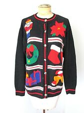 Ugly Christmas Cardigan Sweater Soldier Wreath Poinsetta Stockings Presents L