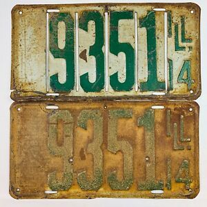 Illinois 1914 Pair License Plate Antique Car Set Slotted Front Man Cave Gift
