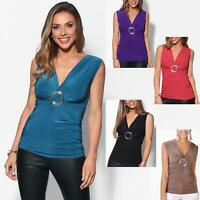 Womens Wrap Blouse Sleeveless V Neck T Shirt Evening Tops Stretch Ruched Party