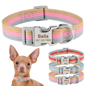 Polyester Dog Collar Personalized Free Engraevd Pet Puppy Dog ID Name Blue S M L