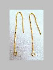 "1 Pair VERMEIL (14k Gold Pltd Sterling Silver) EAR THREAD 3"" Open Jump Ring End"