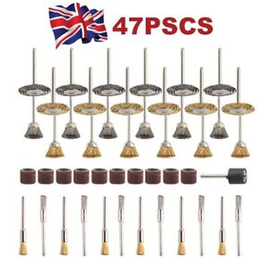 Wire Cup Mix Brush Set Stainless Steel 47pcs for Dremel Rotary Tool Accessories