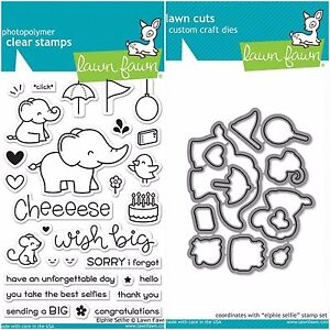 """Lawn Fawn """"ELPHIE SELFIE"""" Clear Photopolymer Stamps Set AND Matching Dies"""