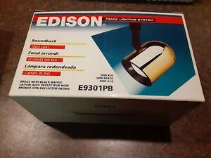 Edison E9301PB Roundback Track Light, Brass W/ Black Baffle New-Old Stock