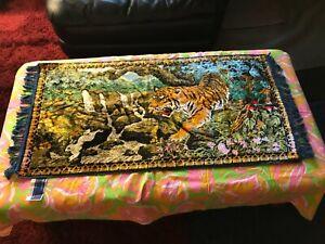 Vtg Chinese TIGER FLOWERS Velvet Tapestry Coffee Table Runner NWOT BLUE